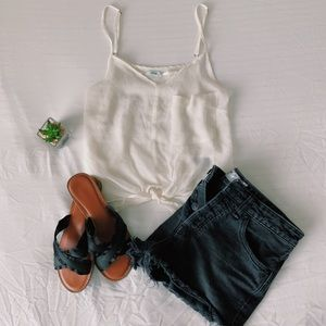 Urban outfitters Kimchi blue cream tie up tank